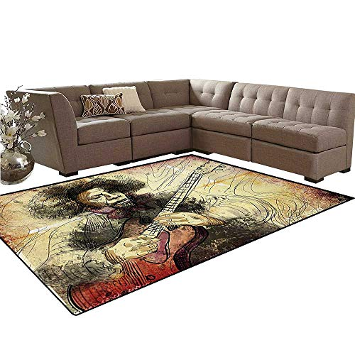 (Jazz Music Kids Carpet Play-mat Rug Guitar Virtuoso Hand Drawn Style Illustration of a Guitar Player Musician Room Home Bedroom Carpet Floor Mat 6'6