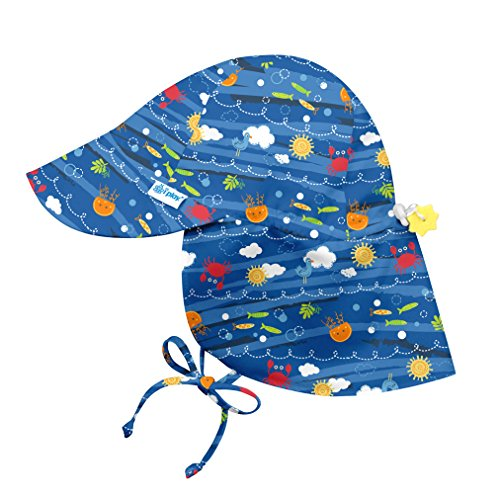 i play. Baby Boys' Flap Sun Protection Hat, Royal Blue Sea Friends, 9-18 Months