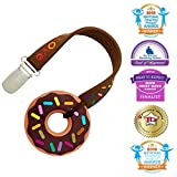 lil baby dr - Silli Chews Cute Mini Brown Sprinkle Chocolate Donut Teether and Clip on Strap Gift Set For Unisex Boys or Girls Freeze (Freezer) or Cool Oral Infant Pain Relief for Gums or Drool