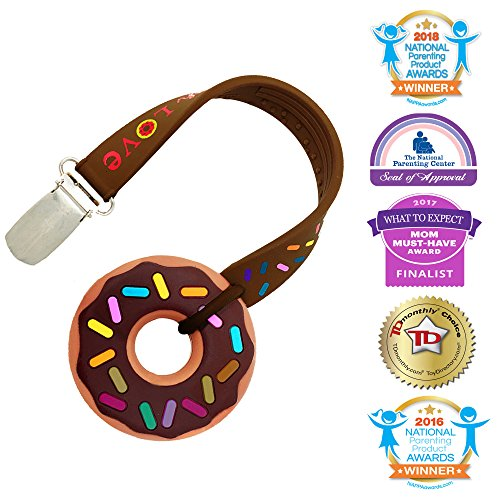 Silli Chews Cute Mini Brown Sprinkle Chocolate Donut Teether and Clip on Strap Gift Set for Unisex Boys or Girls Freeze (Freezer) or Cool Oral Infant Pain Relief for Gums or Drool