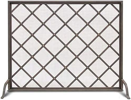 暖炉用品 アクセサ フラット暖炉スクリーン錬鉄の装飾メッシュ、単一のパネル赤ちゃんの安全柵39.4×10.2×31.5inch、スパークガード門