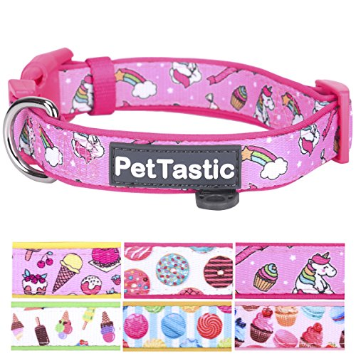 Best Adjustable Medium Dog Collar - PetTastic Durable Soft & Heavy Duty with Cute Sweet Dessert Design, Outdoor & Indoor use Comfort Dog Collar for girls, boys, puppy, adults, including ID Tag Ring