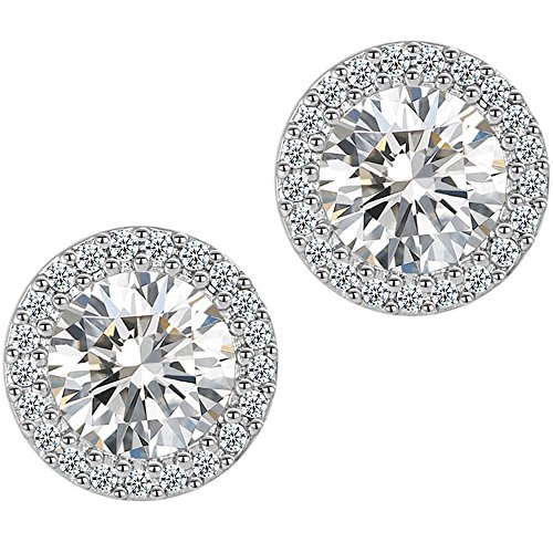 anmao Earrings Round Halo Earrings Fashion Jewelry Cubic Zirconia Stud Earrings for Women Men