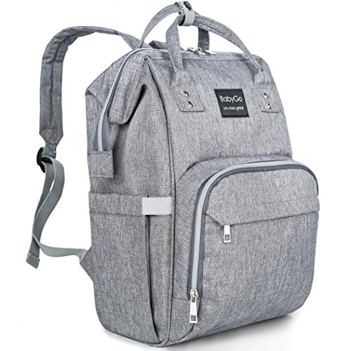 Diaper Bag Backpack – Waterproof and Stylish – Multifunction Travel Back Pack Maternity Baby Nappy Changing Bags – Large Capacity – Gray for Women Men