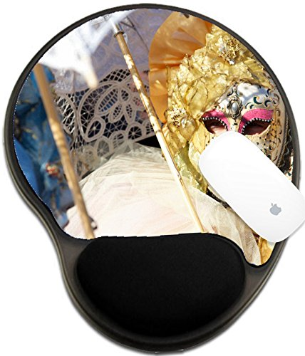 Luxlady Mousepad wrist protected Mouse Pads/Mat with wrist support design IMAGE ID: 27531354 carnival mask