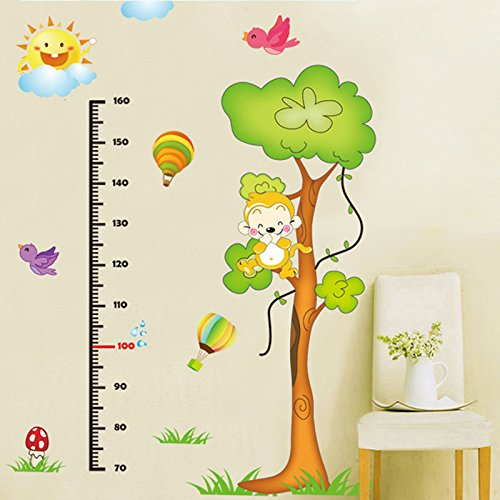 [EMIRACLEZE Christmas Gift Cartoon Monkey Tree Height Tall Sticker Waterproof Removable Mural Wall Stickers Wall Art Decal for Children Room] (Animals That Starts With Letter E)
