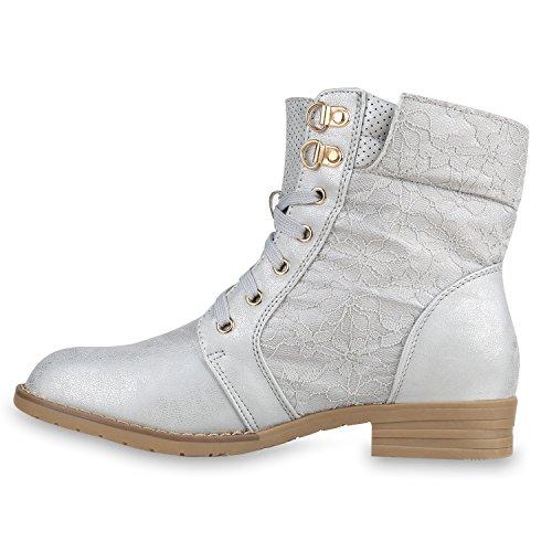 Stiefelparadies - Botas de Material Sintético para mujer plata