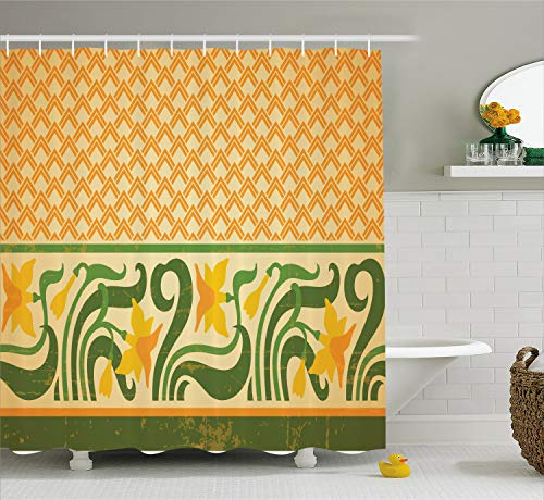 Ambesonne Art Nouveau Shower Curtain, Fresco Ornament Geometric Pattern with Exotic Daffodil Floral Border, Cloth Fabric Bathroom Decor Set with Hooks, 70
