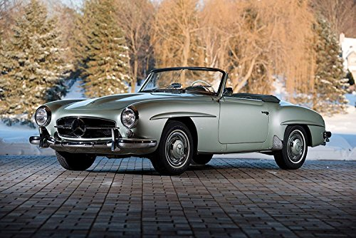Mercedes-Benz 190 SL (1957) Car Print on 10 Mil Archival Satin Paper Light Green Front Side Static View (11