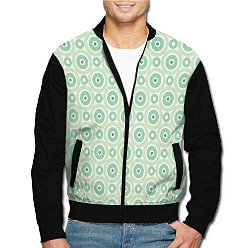 iPrint Men's Casual Long Sleeve Full Zip Fashion Outdoor Jacket with Shoulder Straps