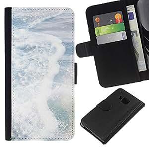 WINCASE ( NO PARA HTC ONE MINI M4) Cuadro Funda Voltear Cuero Ranura Tarjetas TPU Carcasas Protectora Cover Case Para HTC One M7 - resaca del mar sol blanco olas verano