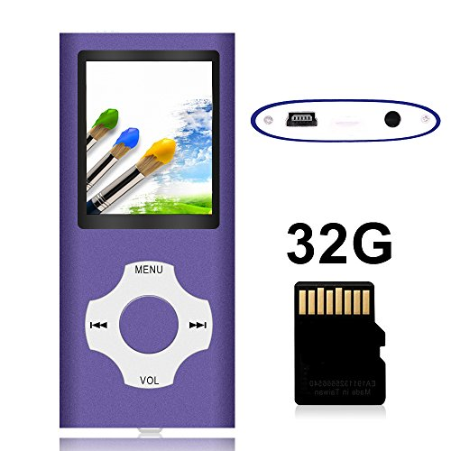 Tomameri – Portable MP3 / MP4 Player with Rhombic Button, Including a Micro SD Card and Support Up to 64GB, Compact Music, Video Player, Photo Viewer Supported – White-with-Purple