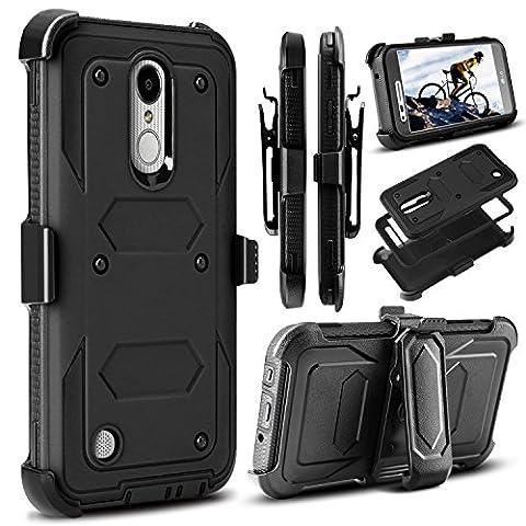 LG Aristo Case, LG V3 Case, LG K8 2017 Case, Venoro Heavy Duty Shockproof Full Body Protection Rugged Hybrid Case Cover with Swivel Belt Clip and Kickstand for LG Aristo / LG V3 / MS210 (V3 Watch Phone)