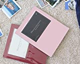 Colorful Album Self Adhesive Photo Album Book, 30 Pages Holds 3x5, 4x6, 5x7, 6x8 Photos, Square Front Window (Baby Pink)