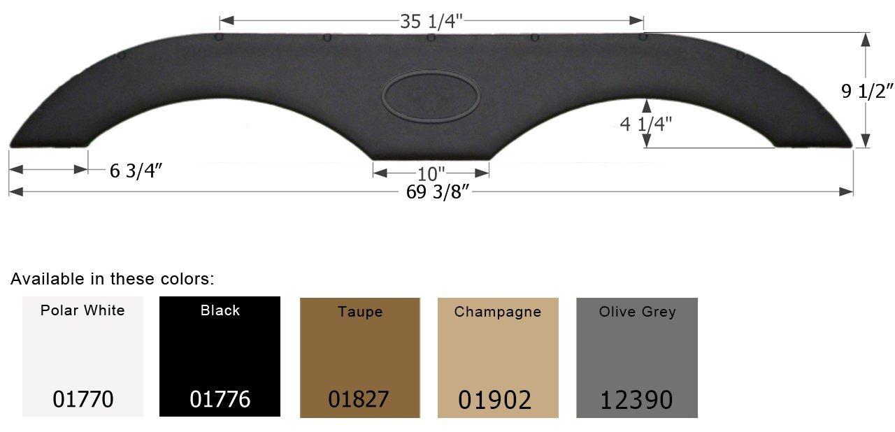 Icon 1776 01776 Tandem Fender Skirt FS1770-Black