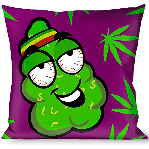 Buckle-Down Throw Pillow - Marijuana Nugs/Leaves Cartoon Purple/Green