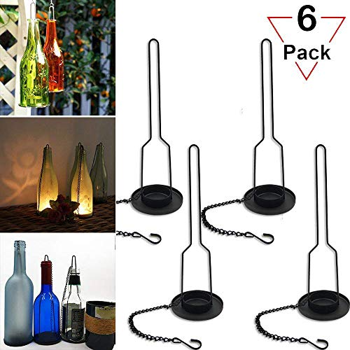 (Gzero 8 pakes Wrought Iron Hanging Candelabra, Matte Black Finish Decorative Candle Holder for DIY Lighting Wine Bottle Jar Perfect DIY Birthday Gift Party Lantern Lamp Garden Porch)
