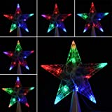 LED Indoor Outdoor Christmas Tree Topper Star Lights Lamp Xmas Decoration 100-240V/EU