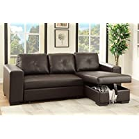 Advanced Modern Reversible Espresso Faux Leather Convertible Sectional Sofa Set with Pull-Out Bed