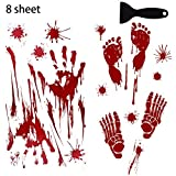 JOKOVIAN Horror Bloody HandprintsFootprints Stickers - Halloween Decorations Vampire Zombie Party Decals for Wall Floor Window Bathtub (8 Sheet)