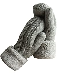 Women's Winter Gloves Warm Lining - Cozy Wool Knit Thick...