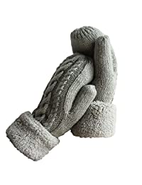 Women's Winter Gloves Warm Lining - Cozy Wool Knit Thick Gloves Mittens in 6 colors (Grey)