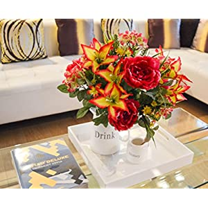 Admired By Nature 24 Stems Artificial Full Blooming Tiger Lily, Peony & Hydrangea with Green Foliage Mixed Flowers Bush for Mother's Day or Decoration for Home, Restaurant, Office & Wedding, Velvet 2