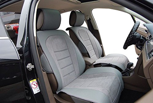 Leather Suede Deluxe 2 Front Car Seat Cushion Covers BA101 Gray