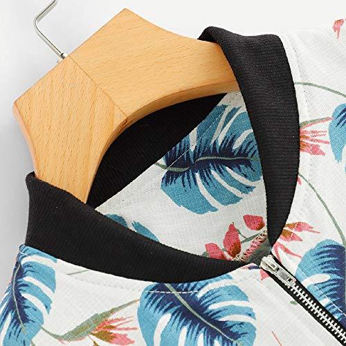 Italily Elegante Zipper Sport Foglia Bomber Jacket Bianco Donna Lampo Overcoat Stampare Cerniera Dermotute Magro Windbreaker Coat Cappotto Moda Lunga Giacca Manica 2018 HqHvxpr