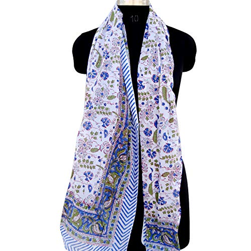 (Blue Multi Color Indian Hand Block Printed Floral Print Cotton Scarves Beach Sarong Bikini Cover ups Voile Pareo Lady Scarf Stole Dupatta)