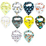 BabyGiggles 10-Pack Unisex Bandana Bibs For Newborns, Infants & Toddlers – Soft & Hypoallergenic 100% Natural Cotton, Cute & Extra Absorbent Bibs For Teething Babies – Perfect Baby Shower Gift