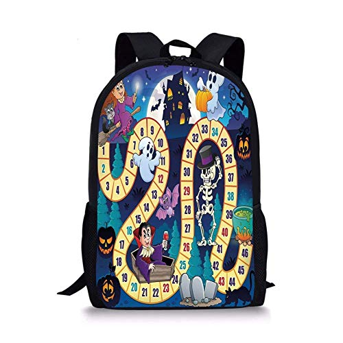 School Bags Board Game,Halloween Theme Symbols Happy Witch Girl Vampire Ghost Pumpkins Happy Comic,Multicolor for Boys&Girls Mens Sport -