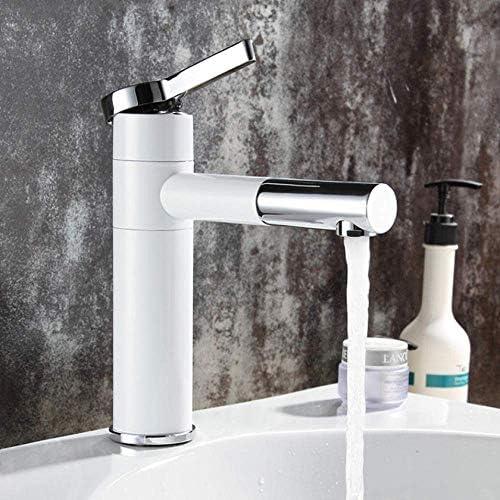 ゆば 流域水栓真鍮浴室の蛇口船シンクミキサーバニティタップスイベルスパウトデッキは白色洗面台の蛇口をマウント