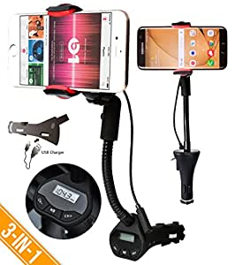 Car Mount Holder with FM Transmitter, Alpatronix [MX100] Universal 3-in-1 Charging Dock Station, Car Cradle with Radio FM Transmitter, USB Charger (2.1A) & 360° Degree Rotating Gooseneck for iPhones (iPhone 7 & iPhone 7 Plus) / Samsung Galaxy (Galaxy S7, Note7) / Google Nexus / LG Android Smartphones & GPS Devices - (Black)