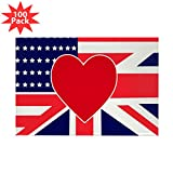 CafePress - USA & UK Love Rectangle Magnet (100 Pack) - Rectangle Magnet (100 pack)