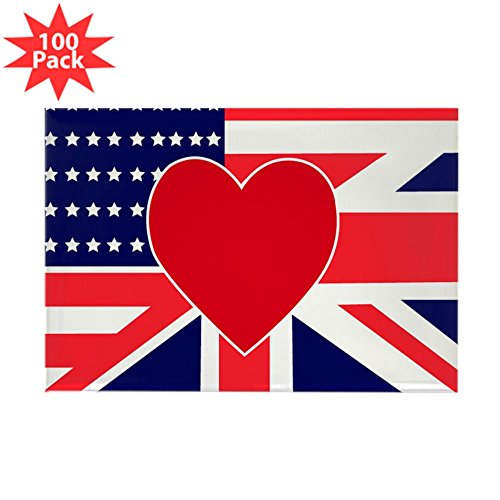 CafePress - USA & UK Love Rectangle Magnet (100 Pack) - Rectangle Magnet (100 pack) by CafePress