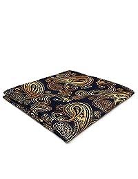 Shlax&Wing Paisley Black Gold Pocket Square Mens Ties Silk Hankies Handkerchief