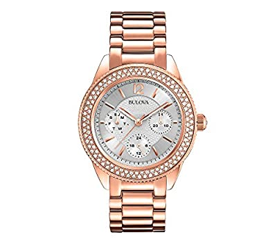 Bulova Women's Rose Goldtone Crystal Watch