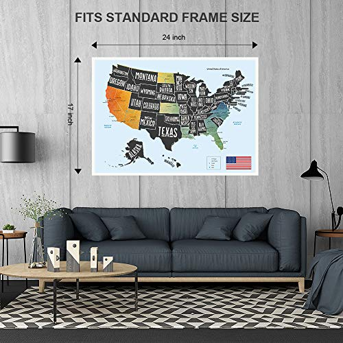 """Scratch Off Map of The United States, Merssyria Scratch USA Travel Map Wall Poster with Scratching Tools, Flag Pins, Stickers, Deluxe Gift for Traveler 24"""" x 17"""" by Merssyria (Image #1)"""