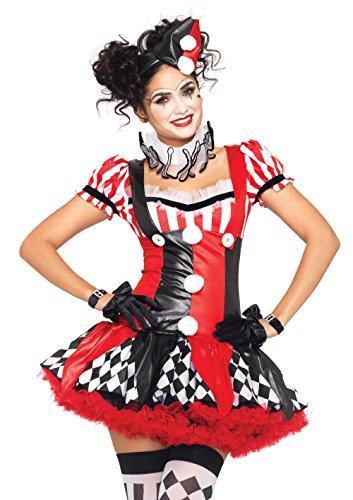 Leg Avenue Women's 3 Piece Harlequin Clown Costume, Black/Red, (New Womens Halloween Costumes 2016)