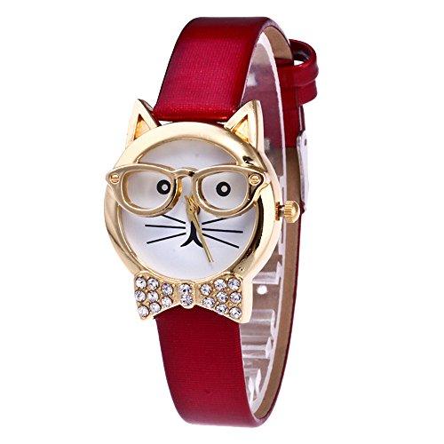 Han Shi Watch, Fashion Women Cute Cat Analog Quartz Dial Wrist Watch Thin Belt Bracelet (M, ()