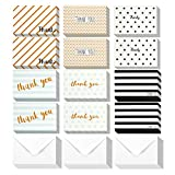 Thank You Cards - 144-Count Thank You Notes, Bulk Thank You Cards Set - Blank on the Inside, 6 Unique Polka Dot and Stripe Designs – Includes Thank You Cards and Envelopes, 4 x 6 Inches