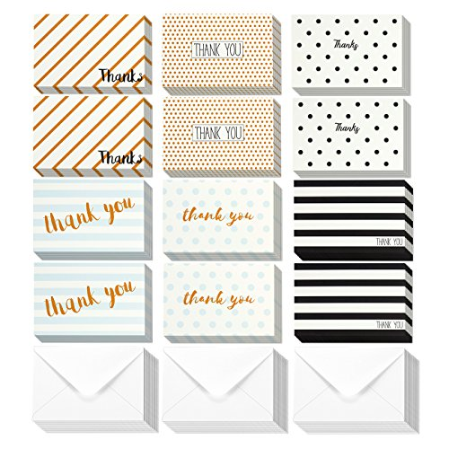 Thank You Cards - 144-Count Thank You Notes, Bulk Thank You Cards Set - Blank on the Inside, 6 Unique Polka Dot and Stripe Designs – Includes Thank You Cards and Envelopes, 4 x 6 Inches - Thank You Card Stationary