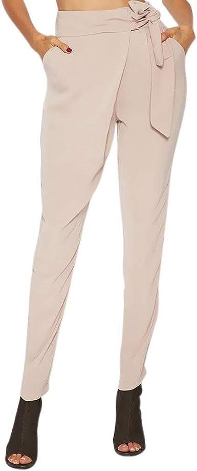 Elegantes Moda Pantalones De Tela Mujer Primavera Bandage Con Lazo Casuales Mujeres Con Bolsillos Color Solido Delgado Slim Fit Largos Pantalones De Moda Joven Comodo Trousers Estilo Moderno Amazon Es Ropa Y Accesorios
