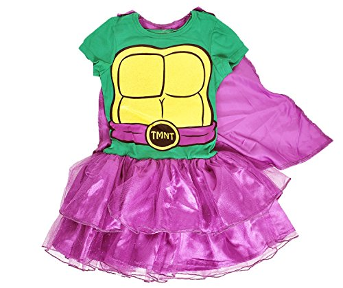 Girls Superhero Ninja Turtles Caped Tutu Costume Dress (Ninja Turtles, Large 10/12) (Ninja Turtles Costume For Women)