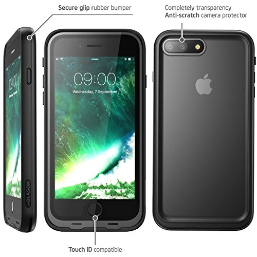 iPhone 8 Plus Case, i-Blason [Aegis] Waterproof Full-body Rugged Case with Built-in Screen Protector for Apple iPhone 7 Plus 2016/iPhone 8 Plus 2017 Release (Black) by i-Blason (Image #4)