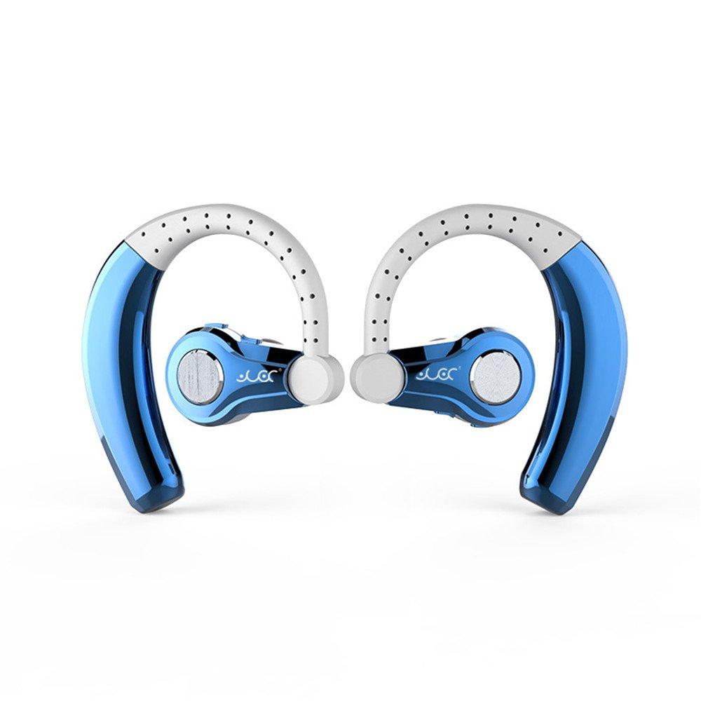 iPhone x ブルートゥース イヤホン スポーツ 、elecfanJ Bluetooth ヘッドセット 高音質 耳掛け式 防汗 防滴 マイク内蔵 CSR 4.1 ハンズフリー ノイズキャンセリング搭載 両耳 スポーツ イヤホン iPhone X/8/8plus/7/7plus,Galaxy S9/S9 Plus/Note8適用 B07CNNP2W6左右耳-ブルー