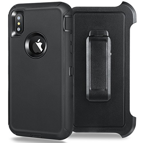 Kuool iPhone X Case, [Shockproof] [Drop Protection] [Heavy Duty] Tough Rugged Hybrid Hard Shell Cover Case with Belt-Clip for Apple iPhone X [5.8 inch]-Black