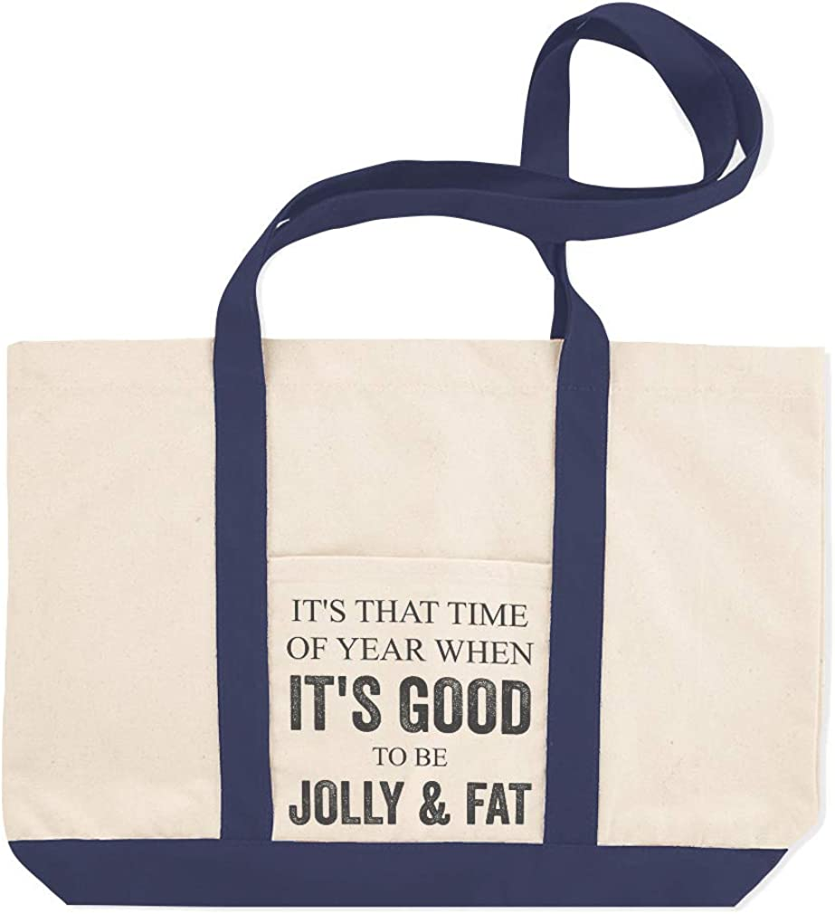 Canvas Shopping Tote Bag Time of The Good to Be Jolly and Fat Holidays Occasions Beach for Women