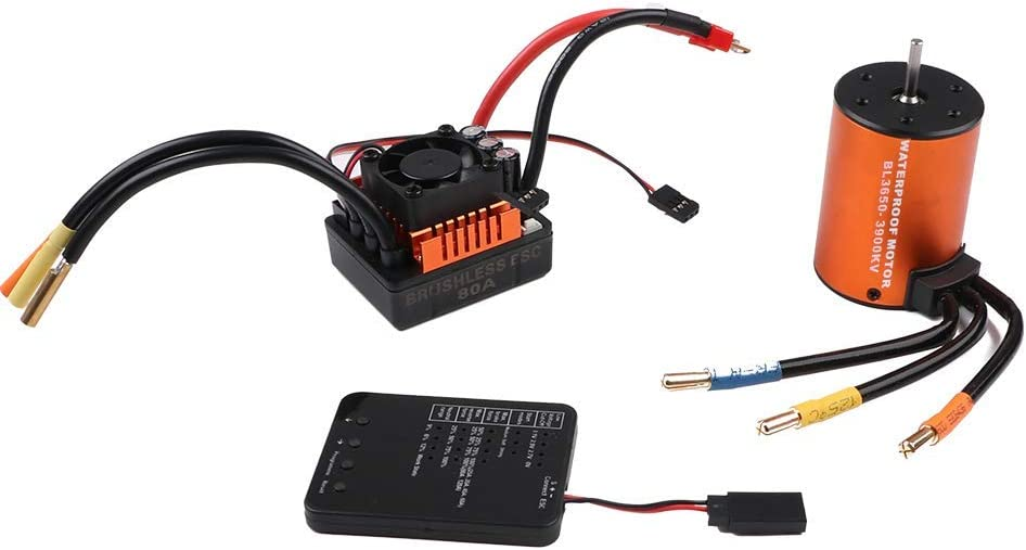 B07P85YNND RCRunning B3650 3900KV 4P Sensorless Brushless Motor CNC with 80A ESC Waterproof and Programming Card Combo Set for 1/10 RC Car 616Pt0IybdL.SL1000_